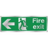 Fire Exit (Arrow Left) Premium Aluminium & Brass Signs