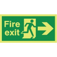 Fire Exit (Arrow Right) Photoluminescent Signs