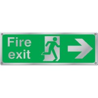 Fire Exit (Arrow Right) Premium Aluminium & Brass Signs