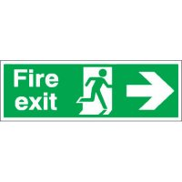 Highly Visible 'Fire Exit' Double-Sided Hanging Sign with Right Arrow Symbol