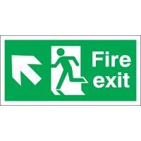 Fire Exit (Arrow Up & Diagonal Left) Signs