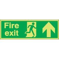 Fire Exit (Running Man & Arrow Up) Photoluminescent Signs