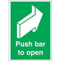 Essential 'push bar to open' fire door signs
