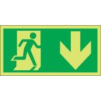 Running Man & Arrow Down Photoluminescent Signs