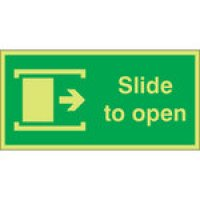 Slide To Open (Right) Photoluminescent Signs