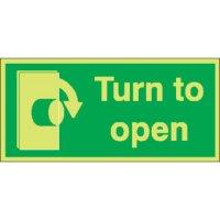 Turn To Open (Clockwise) Photoluminescent Signs