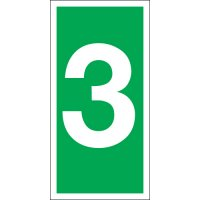Number 3 Photoluminescent Signs