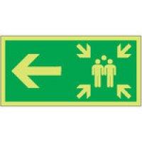 Assembly Point Arrow Left Photoluminescent Signs