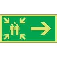 Assembly Point Arrow Right Photoluminescent Signs