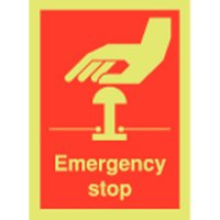 Emergency Stop Photoluminescent Signs