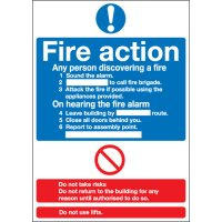 Essential Fire Action Notice Instruction Signs