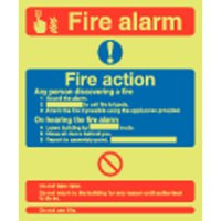 Fire Alarm & Fire Action Photoluminescent Signs