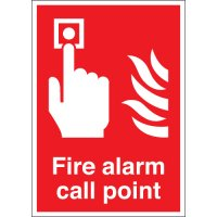 Self-adhesive, fire alarm call point signs