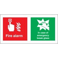Dual Fire Alarm/In Case Of Fire Break Glass Signs