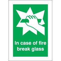 Fire Safety In Case Of Fire Break Glass Photoluminescent Signs