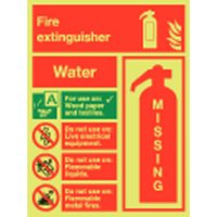 Water Extinguisher Missing Photoluminescent Signs