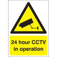 Durable 24 Hour CCTV In Operation Signs