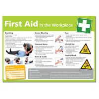 Highly informative 'first aid in the workplace' photographic poster
