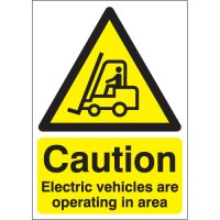 Caution Electric Vehicles Are Operating... Signs