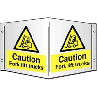Caution Fork Lift Trucks Projecting 3D Signs