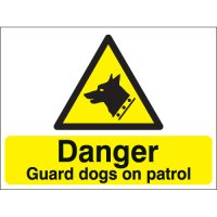 Caution Guard Dogs On Patrol Stanchion Signs