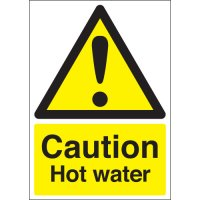 Self-adhesive rigid plastic and vinyl hot water signs