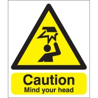 Self-adhesive, highly visible mind your head sign