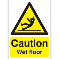 Caution – wet floor' sign in rigid plastic or vinyl with optional self-adhesive