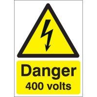 Bold 'Danger 400 Volts' Electrical Hazards Warning Sign