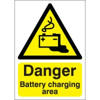 Danger battery charging area health & safety hazard signs