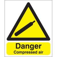 Plastic Or Vinyl Danger Compressed Air Signs