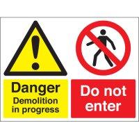 Danger Demolition In Progress... Multi-Message Stanchion Signs