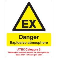 Danger Explosive Atmosphere - Atex Category 3 Signs