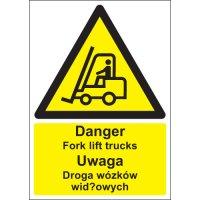 Danger Fork Lift Trucks Polish/English Signs