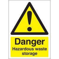 Durable 'Danger Hazardous Waste Storage' Health and Safety Signs