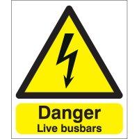 Vital live busbars electrical hazard signs