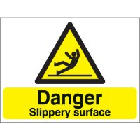 Danger Slippery Surface Stanchion Signs