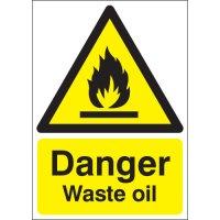 Essential danger waste oil warning signs