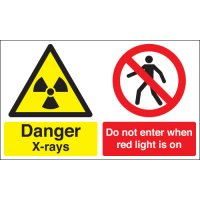 """""""Danger X-rays"""" and """"Do not enter"""" hazard warning signs"""