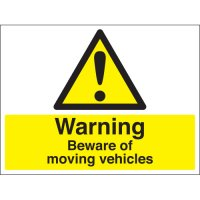 Warning Beware Of Moving Vehicles Stanchion Signs