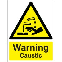 High Visibility 'Warning Caustic' Sign with Symbol