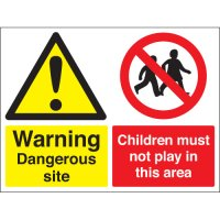 Warning Dangerous Site... Multi-Message Stanchion Signs