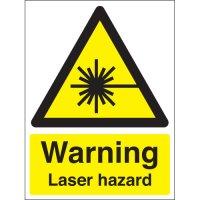 Laser hazard warning health & safety signs