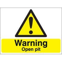 Warning Open Pit Stanchion Signs