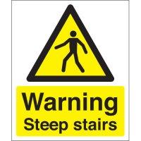 Plastic Or Vinyl Warning Steep Stairs Signs
