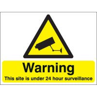 Warning This Site Is Under 24 Hour... Stanchion Signs