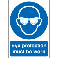 Durable Plastic Or Vinyl Eye Protection Must Be Worn Signs