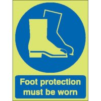 Foot Protection Must Be Worn Photoluminescent Signs
