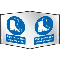 Foot Protection Must Be Worn Projecting 3D Signs