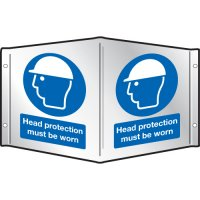 Head Protection Must Be Worn Projecting 3D Signs